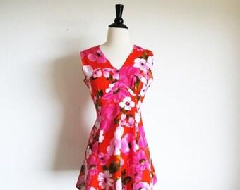 Valentine 1/2 Off Sale Vintage 60s Mini Dress, Pink Flower Dress, X Small Vintage Dress