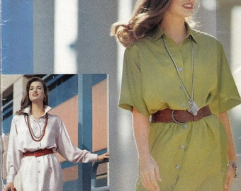 "Womens 90's Sewing Pattern Butterick 4826 Button Down Dress Size 12-14-16 Bust 34-36-38"" UNCUT"