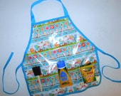 Owls and woodland friends wipe off vinyl oil cloth school play apron smock with pockets for art supplies for messy projects  kids ages 1 - 6