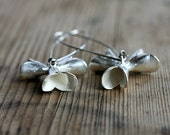Floral Pods Hanging Silver Earrings, dangle earrings inspired by Banksia seedpods