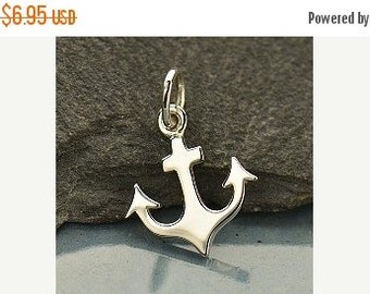 Prepare for Mothers Day Anchor Charm - Sterling Silver Flat Plate Anchor -  Faith, Strength Charm, Navy Charms, Coast Guard Charm, Love, Sta