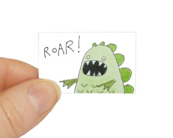 Monster Birthday Card, Green Dinosaur Miniature Card & Tiny Envelope, Dinosaur Birthday Card, Miniature Blank Greeting Card, Poosac