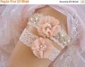 FALL SALE Wedding Garter / Blush Garter / Crystal Garter / Toss Garter / Garter Belt / Garder / Ivory Garter / lace garter