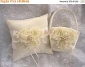 FALL SALE Flower Girl Basket and Pillow  Vanilla Rose Blossom Ivory Ring Bearer Pillow, Flower Girl Basket Set Wedding Pillow