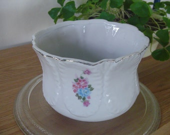 Antique China Flowered Bowl, Unusual Size Spoon Bowl, Vintage Serving Bowl, Collectible Bowl, Gift for Mom, Gift for Her, Flowered Serving