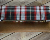 Red Plaid Foldover Clutch, Plaid Clutch Purse, Faux Leather Classic Clutch, Zippered Clutch, Kindle Case, Gift for Her