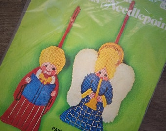 1980s Bucilla Christmas Needlepoint Ornaments Pair of Painted Dolls 60340 Sealed Vintage Craft Kit