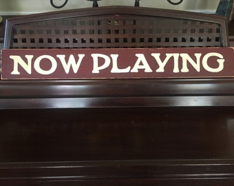 NOW PLAYING Sign Plaque Movie Home Theater Room Decor Wood Cinema