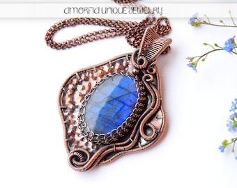 Blue labradorite wire wrapped copper pendant