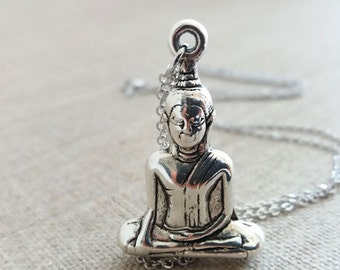 Buddha Necklace.  Antique Silver Buddha. Buddha Pendant. Long Boho Necklace.Om. Ohm.Zen. Boho Yoga Jewelry.