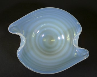 Opalescent Swirl Handblown Art Glass Bowl