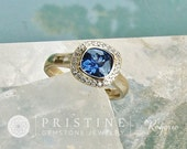 RESERVED Custom Order for Square Cushion Blue Sapphire Bezel Set Diamond Halo 14k White Gold Engagement Ring