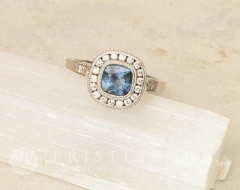 Cushion Cut Blue Sapphire Engagement Ring Vintage Style Wedding Ring 14k White Gold Diamond Halo Ring