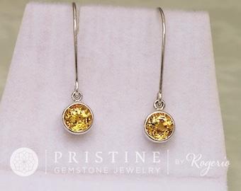 Yellow Sapphire Dangle Earrings Fine Gemstone Jewelry Gift for Her