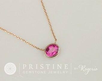 Purple Pink Fuschia Tourmaline 14k Gold Bezel Set Layering Necklace, Keepsake Gift for Her
