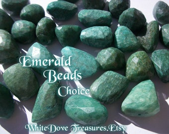 EMERALD BEADS - Genuine Gemstone Faceted Natural Stone Nugget Lg Loose Choice 32-16mm Focal Bead Reiki Chakra Yoga Minimalist Zen Jewelry