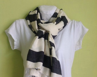 Scarf Scarves- Accessories- black and white striped cotton scarf- Men or women Ethiopian Handwoven scarf- Scarves Wraps Stole