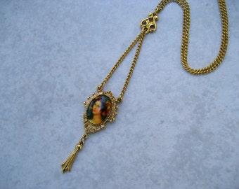 Vintage Signed ART Necklace Victorian Portrait Lavalier Dangle