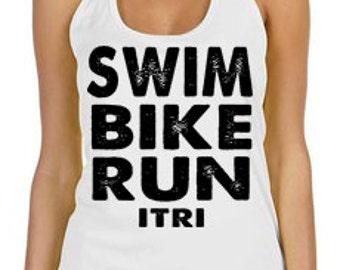 Swim, Bike, Run, iTri Dri Fit Tank, Sports Tank, Yoga Tank, TShirt, ,Tank Top, Womens Tank, Fitness Tank Top, Running shirt
