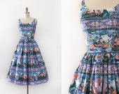 vintage 1950s novelty dress // 50s novelty still life watercolor dress