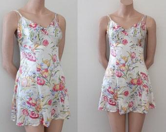 vintage 1930s swimsuit // 30s 40s floral swimsuit
