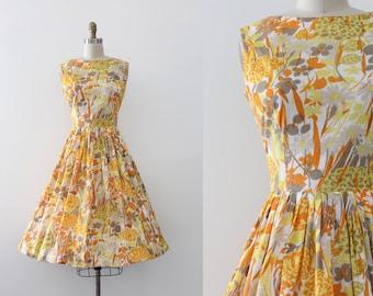 vintage 1960s dress // 60s Jonathan Logan yellow floral dress