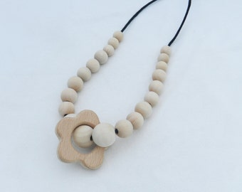 Wooden Bead Teething Necklace with Flower Ring