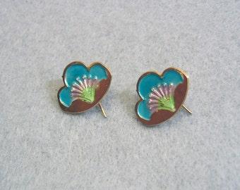 Vintage Laurel Burch  Like Enameled Water Lily Pierced Earrings