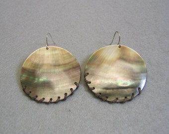 Pierced Earrings, Big Bold Brown and White Mother of Pearl