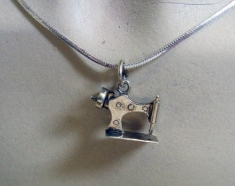 Sewing Machine Charm Necklace, Sterling Silver, 18 Inch Chain
