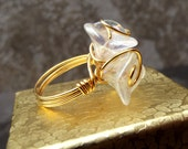Crystal Flower Ring:  Floral Wedding Jewelry, Bridal Bouquet Ring, Gold Sparkle Wire Wrapped Ring, Bridesmaid Gift