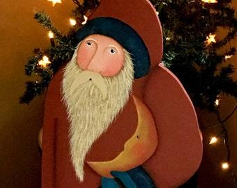 Folk Art Santa, wooden Santa, hand painted,old world Santa, Celestial Santa,prim Santa, Christmas decor, moon, stars, Santa figure