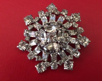 Big Bling Vintage Prong Set Clear Rhinestone Brooch