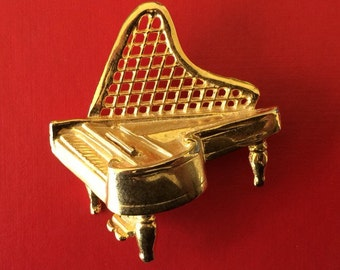 Vintage Gold Plated Grand Piano Brooch