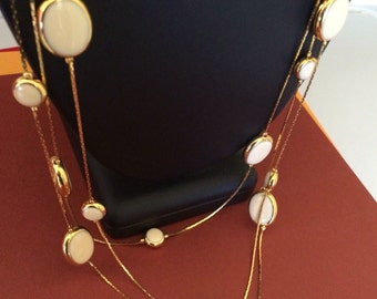 Avon Three Layer Gold and Oval Creamy Off White Lucite Necklace