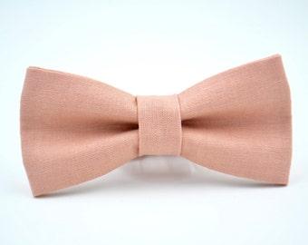 Mens Bowtie in Dusty Pink Linen #2, Mauve Bow Tie, Dusty Pink Bow Tie, Dusty Rose Bow Tie, Groomsmen Bow Tie, Wedding Bow Tie