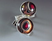 SALE- 10% off- Harley Davidson- Fordite Cufflinks- Red Eyes- Stunning Colors- Michigan Jewelry- Men's Jewelry- Sterling Silver Cuff Links