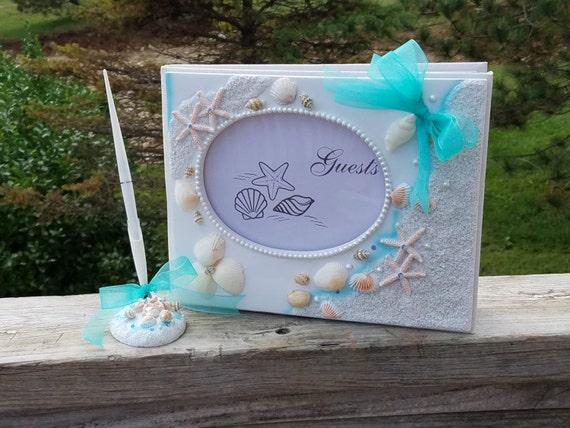 Beach Wedding, Guest Book & Pen Set, Mermaid Wedding