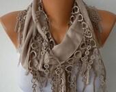 Beige Pashmina Scarf Fall Winter Accessories Cotton Cowl Shawl  Dark Beige Women Fashion Accessories Gift Ideas For Her, best selling item