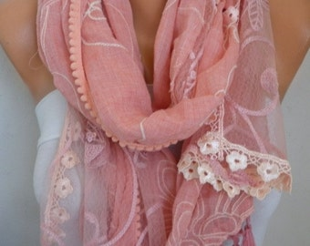 Tea Rose Tasseled Cotton Scarf,Wedding Shawl,Bridal Scarf,  Cowl Scarf - Bridesmaid Gift Gift Ideas  For Her Women Fashion Accessories