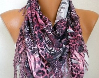 Pink Leopard Print Scarf, Fall Fashion, Easter Animal Scarf Cowl  Scarf  Gift Ideas For Her Women Fashion Accessories
