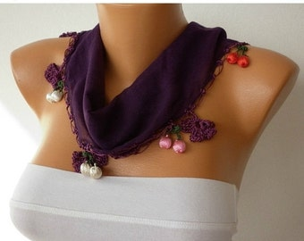 Dark Purple Floral Cotton Scarf , Damson, Fall Scarf, Necklace, Gift Ideas  For Her,  Women Fashion Accessories