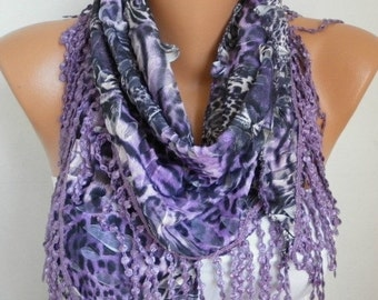 ON SALE - Purple Scarf  Leopard Scarf -  Cowl  Scarf with Lace Edge - fatwoman