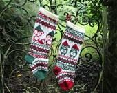 Pattern Santa Owl and Santa Fox Christmas Stockings and Stranded Knitting Fair Isle Knit Your Own