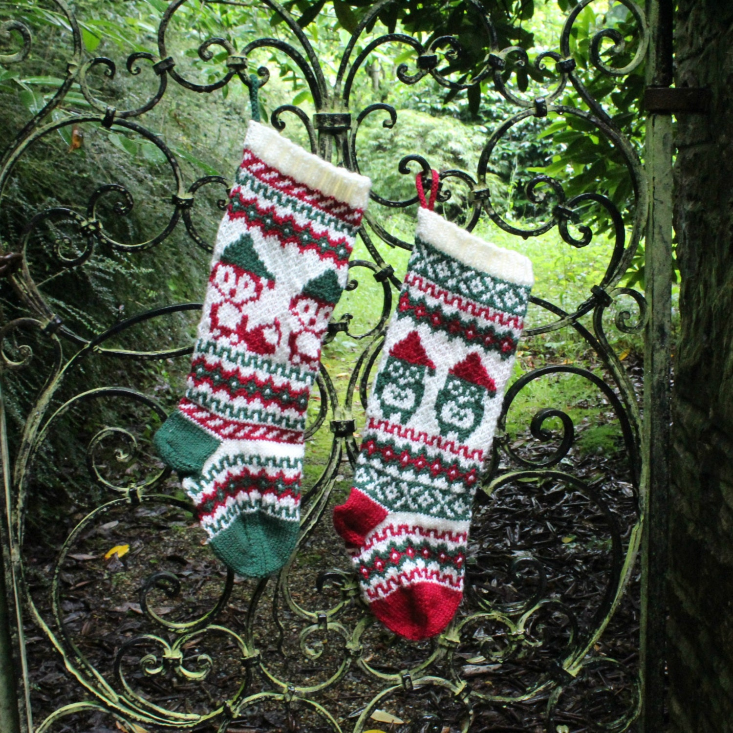 Pattern santa owl and santa fox christmas stockings and zoom bankloansurffo Choice Image