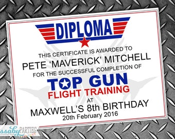 Top Gun Diploma Certificate Fighter Pilot Flight Training - INSTANT DOWNLOAD -  Editable & Printable Birthday Decorations by Sassaby Parties