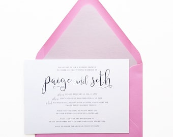 Bridal Shower Invitation - Letterpress - Shower Invitations - Pink and Purple - Custom Invitations - DEPOSIT