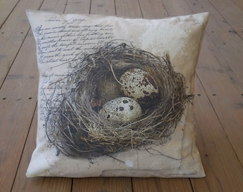 Quails Nest Pillow, French Farmhouse, Shabby Chic, INSERT INCLUDED