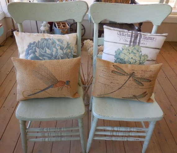 French Dragonfly Burlap Pillow Shabby Chic INSERT INCLUDED