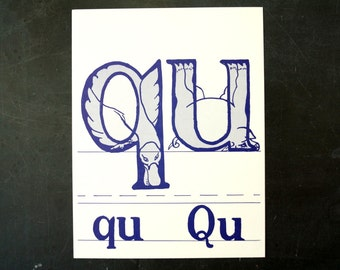 """Vintage Letters """"QU"""" Flashcard / Phonics Card, 7"""" tall (c.1958) - Collectible, Altered Art Ephemera, Home Decor, and more"""